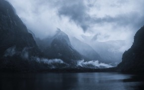 Picture sea, the sky, clouds, trees, mountains, nature, fog, the fjord