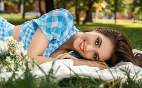 Picture grass, look, girl, nature, smile, makeup, brunette, Anton Kharisov