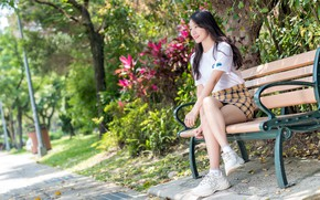 Picture summer, girl, Asian, bench