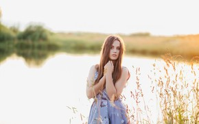 Picture look, girl, pose, river, portrait, bokeh, Sergei Mihov
