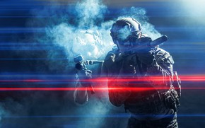 Picture soldiers, smoke, assault rifles, lights effect