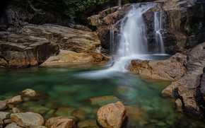 Picture waterfall, stream, jets of water
