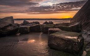 Picture sand, sea, the sky, clouds, landscape, sunset, clouds, nature, stones, shore, the evening, horizon, boulders, …