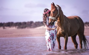 Picture the sky, look, face, girl, light, flowers, nature, pose, river, each, mood, horse, shore, horse, …