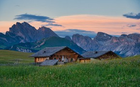 Picture field, forest, summer, the sky, grass, clouds, mountains, house, tops, home, Alps, meadow, houses, The …