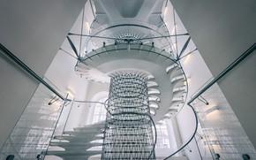 Picture ladder, spiral staircase, white ladder