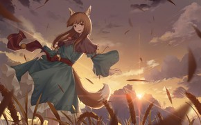 Picture field, girl, sunset, the wind, Spice and Wolf, Holo, Spice And Wolf