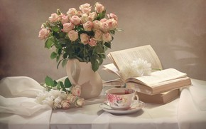 Picture flowers, table, tea, books, roses, Cup, fabric, pitcher, still life, chrysanthemum, drape, Kovaleva Svetlana, Svetlana …