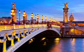 Picture the city, river, France, Paris, home, the evening, lighting, lights, Hay, columns, Pont Alexandre III