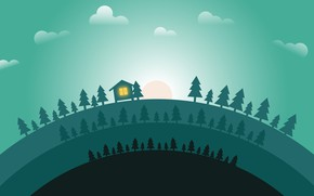 Picture The sun, Minimalism, Forest, House, Dawn, Landscape, Tree, Concept Art, Environments, Naughty Natesan, Circle animation …