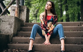 Picture look, hair, jeans, blouse, legs, sitting, Alessandra