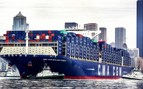 Picture The city, The ship, Benjamin Franklin, A container ship, Seattle, Tugs, CMA CGM, Vessel, Port …