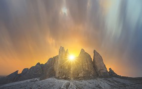 Picture the sky, the sun, landscape, mountains, nature, beauty
