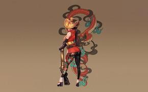 Picture Girl, Japan, Fantasy, Gun, Sexy, Art, Body, Snake, Style, Background, Samurai, Illustration, Weapon, Minimalism, Salamander, …