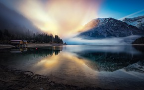 Picture fog, lake, morning