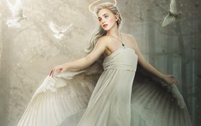 Picture Girl, Dove, Blonde, Angel, Style, Girl, Dress, Wings, Pigeons, Fantasy, Beautiful, Style, Beauty, Fiction, Beauty, ...