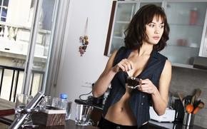 Picture look, pose, model, coffee, makeup, figure, actress, brunette, hairstyle, Olga Kurylenko, Olga Kurylenko, hair
