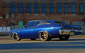 Picture Chevrolet Chevelle SS, 1969, Blue, Coupe, Muscle car, Vehicle