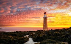 Picture sky, sea, landscape, nature, sunset, clouds, Australia, horizon, plants, lighthouse, long exposure, The Cape du …