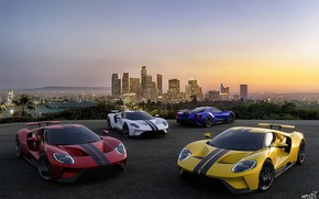 Picture sunset, city, Ford, the evening, Ford GT, USA, USA, Los Angeles, sunset, Los Angeles, supercars, …