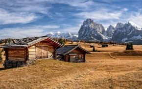 Picture mountains, valley, houses