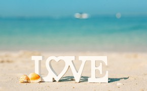 Picture sea, beach, letters, Love, The sun
