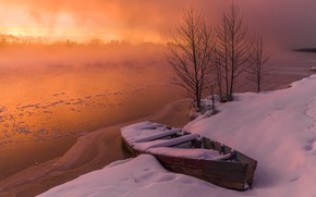 Picture winter, snow, sunset, shore, boat, pond