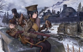 Picture winter, weapons, girls, soldiers, tank