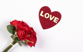 Picture love, flowers, background, the inscription, Love, roses, bouquet, heart, Valentine's day