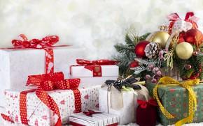 Picture winter, holiday, tree, New year, Gifts, MARINA MASLOVA
