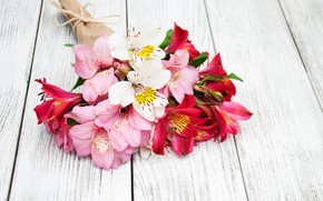 Picture flowers, Lily, bouquet, pink, wood, pink, flowers, lily