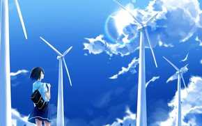 Picture the sky, girl, clouds, wind turbines