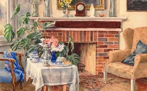 Picture chair, the tea party, fireplace, table, Olga Kulikovskaya-Romanova