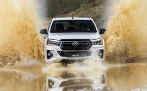 Picture white, water, squirt, reflection, Toyota, pickup, Hilux, Special Edition, 2019