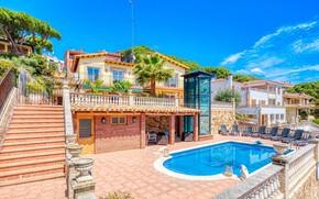 Picture Villa, pool, facade, Lloret de Mar, Villa Dolce Vita