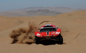 Picture red, movement, desert, dust, rally, rally, Buggy, Fast&Speed