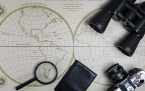 Picture map, the camera, binoculars, magnifier, passport
