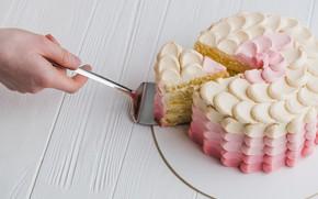 Picture hand, cake, cream, blade