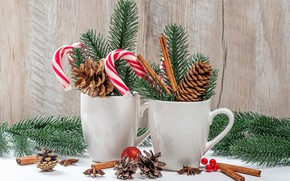 Picture branches, tree, Christmas, candy, Cup, New year, cinnamon, bumps
