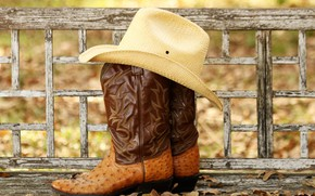 Picture hat, boots, leather