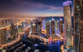 Picture night, the city, lights, view, building, skyscrapers, boats, the evening, Dubai, architecture, promenade, megapolis, pond, …