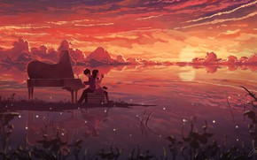 Picture sunset, piano, two