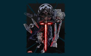 Picture Star Wars, Dark Side, Art, Jedi, AT-AT, Sith, Minimalism, Kylo Ren, AT-ST, TIE Fighter, Galactic …