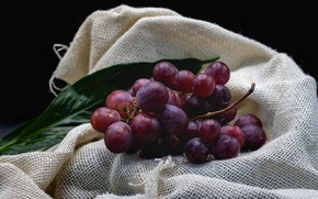 Picture the dark background, grapes, bunch, fabric