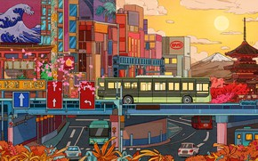 Picture The sun, The city, Style, City, Bus, Fantasy, Architecture, Art, Cars, Art, Style, Illustration, Transport, …