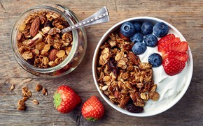 Picture strawberry, blueberries, yogurt, granola