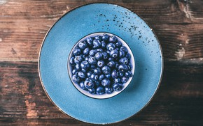 Picture berries, background, blue, Board, blueberries, plate, bowl, saucer