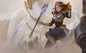 Picture girl, staff, knight, Lux, League Of Legends