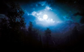 Picture forest, trees, landscape, mountains, the moon