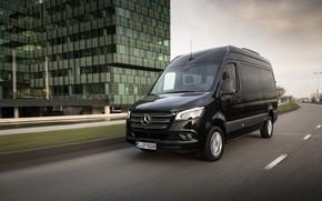 Picture the city, black, street, Mercedes-Benz, van, Sprinter, 2017